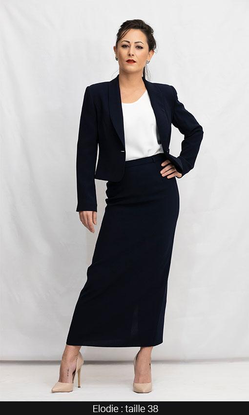 tailleur jupe longue noir femme élégante