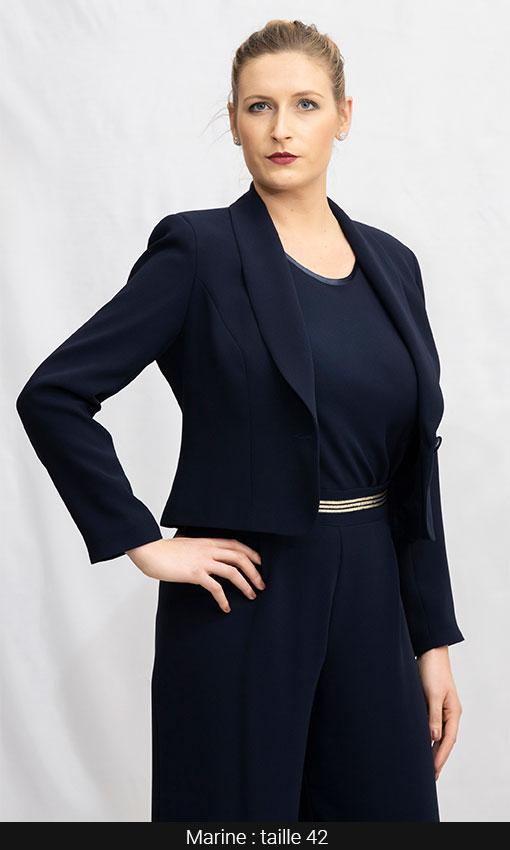 tailleur femme chic bleu marine pantalon et veste