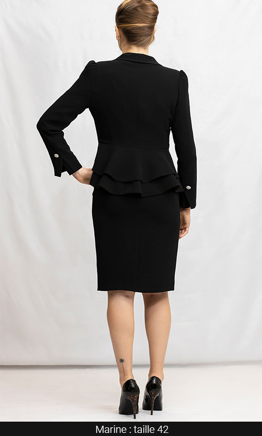 tailleur jupe droite et veste noir femme classique