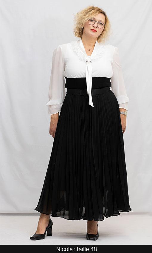 jupe longue grande taille plissé noir