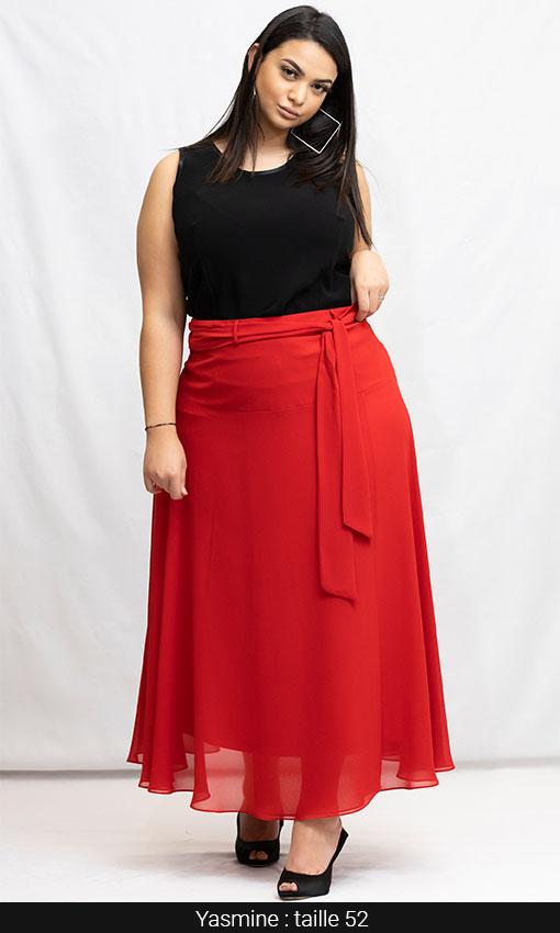 jupe longue femme rouge grande taille