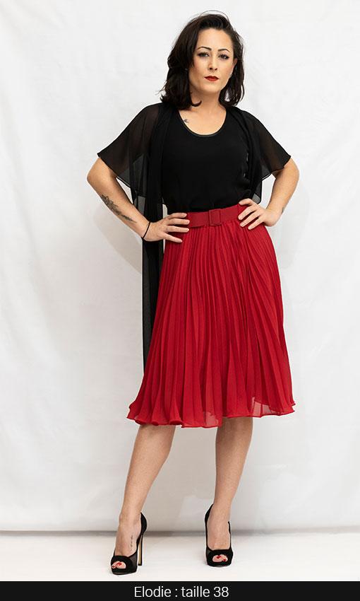 jupe plissée rouge paris