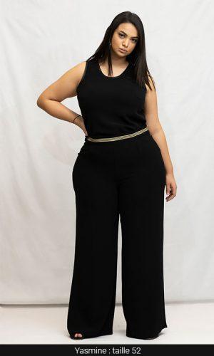 pantalon large fuide femme grande taille noir