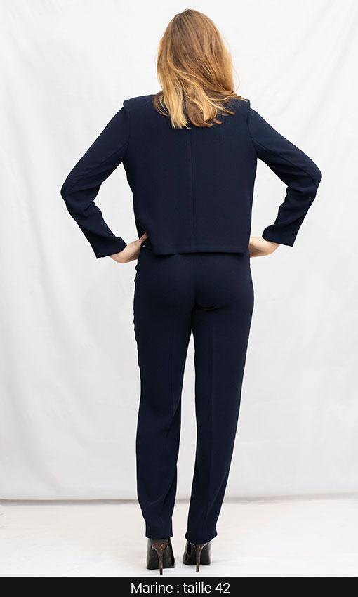 pantalon et veste tailleur bleu marine