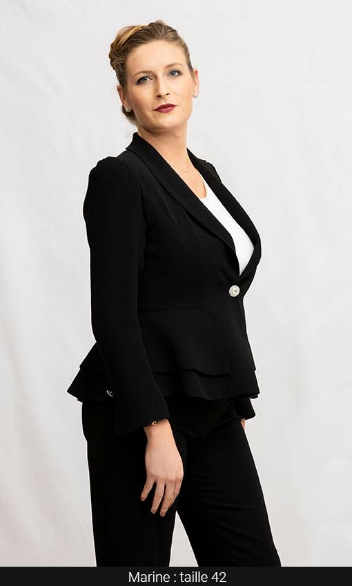 tailleur femme veste basque pantalon noir