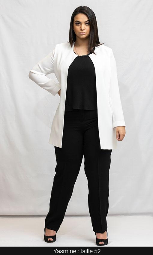 tailleur pantalon veste longue femme grande taille femme