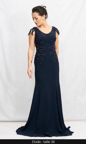 robe cérémonie fiançaille paris bleu marine