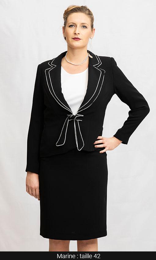 tailleur veste bicolor et jupe noir et blanc