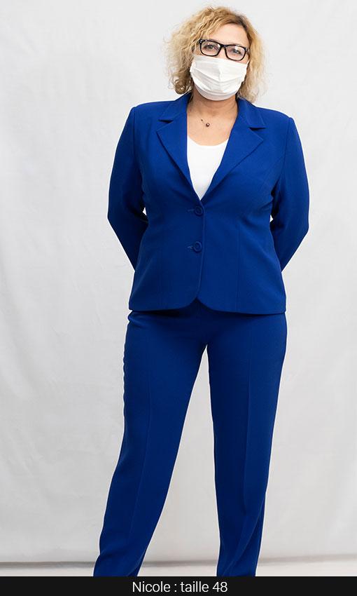 Tailleur pantalon femme grande taille bleu roi