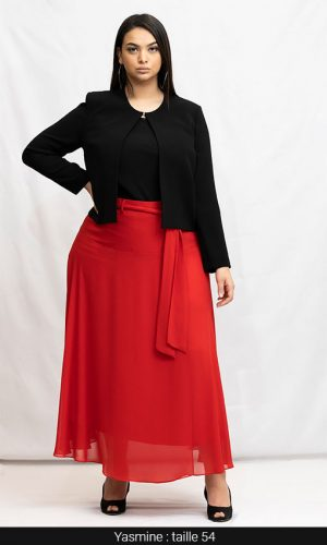 jupe longue rouge grande taille