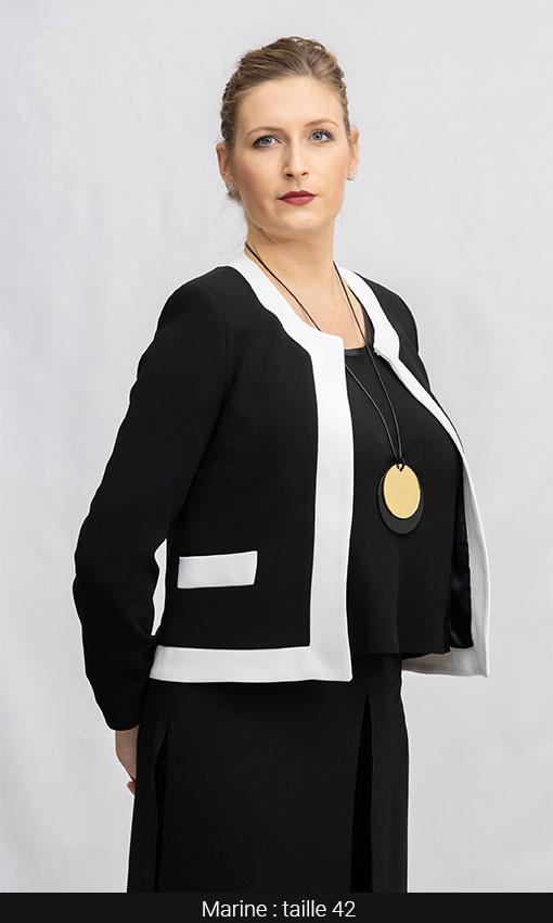 veste femme courte bi color