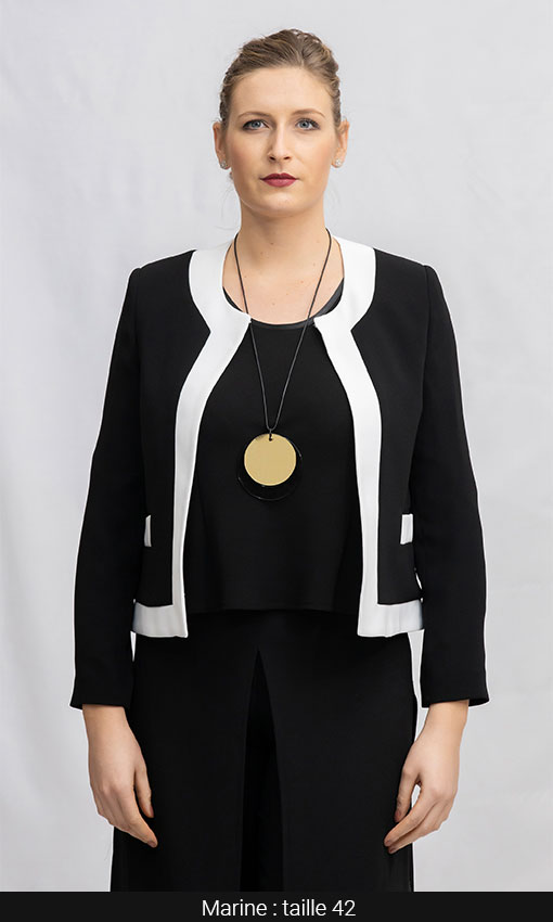 veste courte tailleur bi color