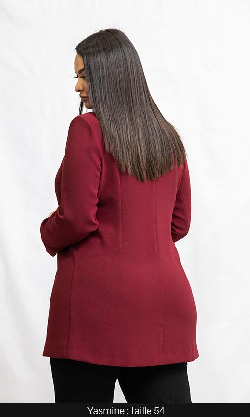 veste femmes grandes tailles bordeaux