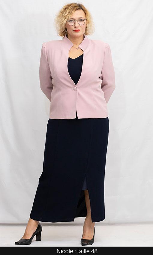 veste femme tailleur femme ronde grande taille rose pale
