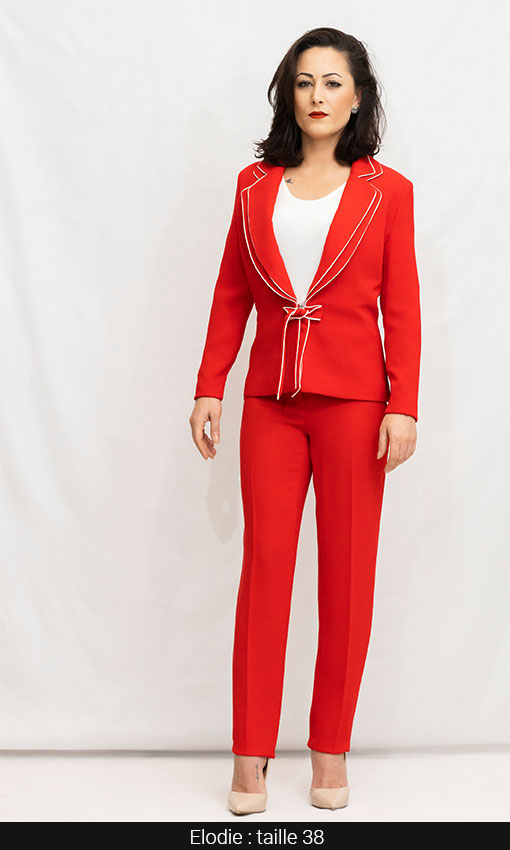 veste femme tailleur rouge qualité bicolor blanc