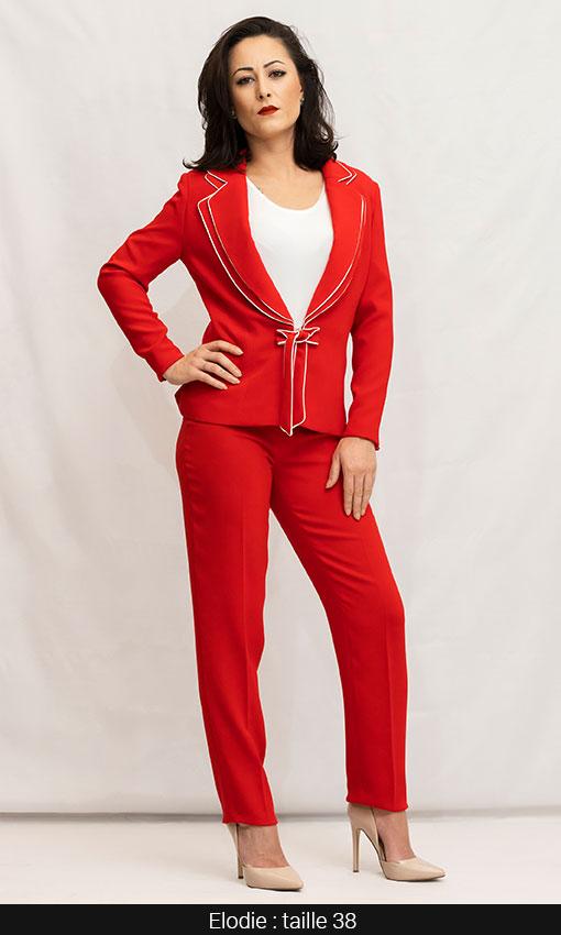veste femme tailleur bicolor rouge et blanc paris