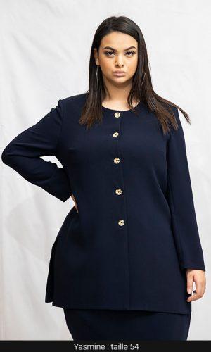 veste longue à bouton grande taille bleu marine