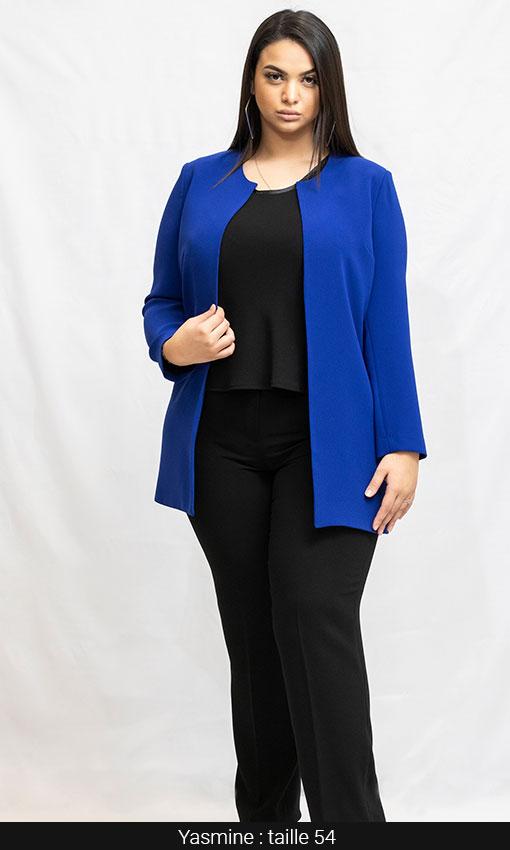 veste longue femme forte bleu