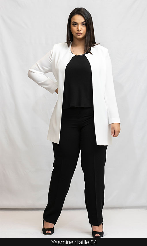 veste longue femme ronde blanc