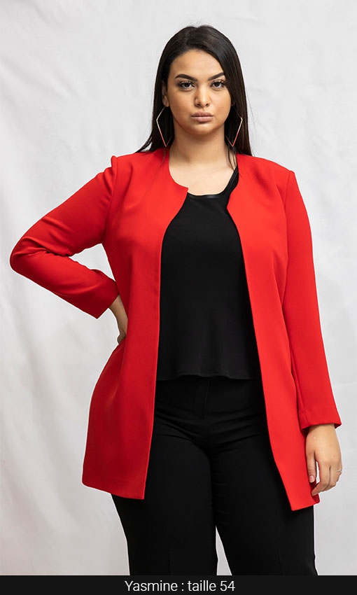 veste longue chic femme ronde rouge paris