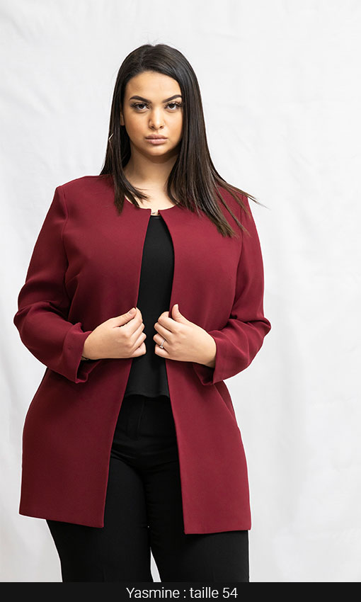 magasin veste longue bordeaux femme forte